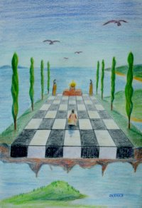 Upon a checkered platform, one who is deep in meditation floats above the world.