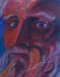 A chalk pastel portarit of Michelangelo's statur of Moses.