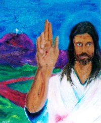 Jesus has left the cross behind, his hand with the stigmata raised in blessing.