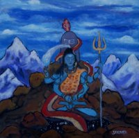 Shiva sits high upon a peak in the Himalayas as the Kundalini serpent rises from the cosmos at Shiva's feet.e