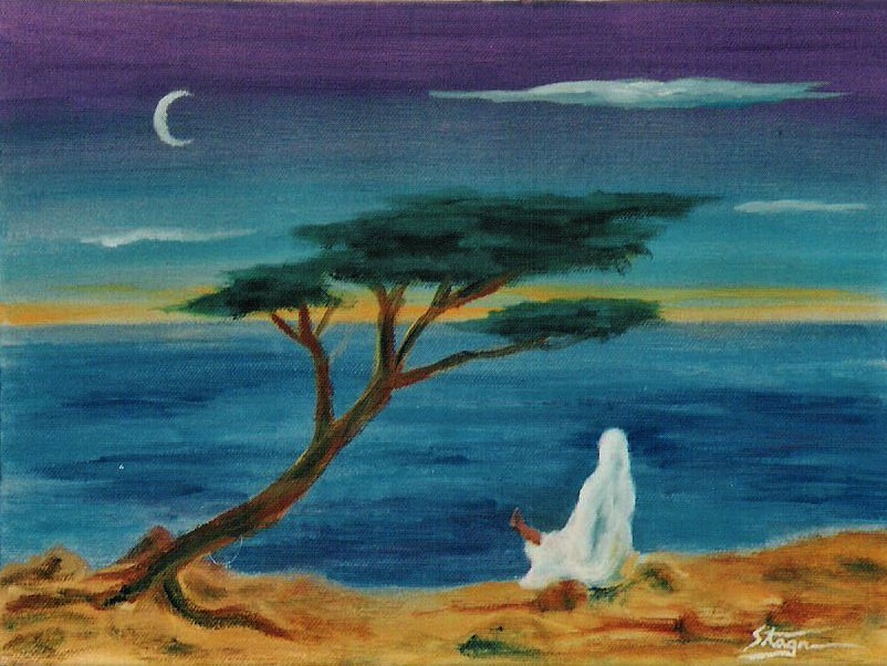 A lone figure meditates under a tree and moon.