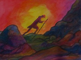 A traveler begins his ascent up the mountain, the glow of Spirit surrounding him.