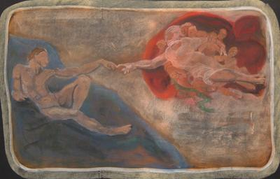 Michelangelo's Creation of Adam (Chalkboard Drawing), by Janaka Stagnaro