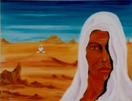 A shrouded seeker meditates upon a desert dune, watching himself.