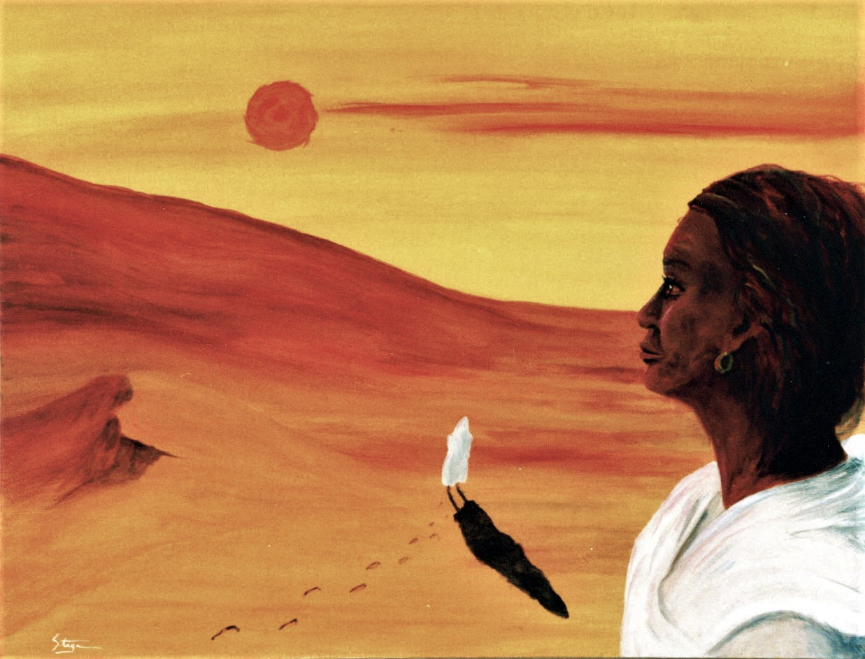 A woman watches her shrouded self cross the desert sands, the sun of inspiration goading her on.