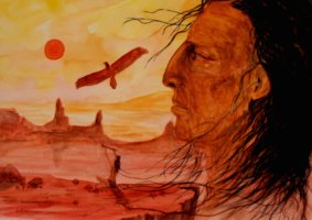 A Native American sits in a desert landscape, offering his pipe to the soaring hawk overhead.