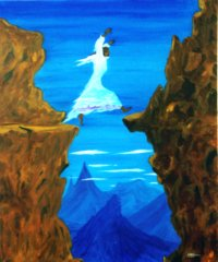 A woman, wearing a garment of reality, jumps a chasm.