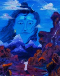 Pilgrims walk the path high in the Himalayas, as Shiva watches from over the high peaks.