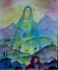 Mother Mary lovingly holds the Earth, offering a new vision for man and woman to step into.