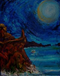A standing stone overlooks a harbor under a giant full moon..