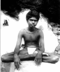 A young Ramana Maharshi in his perpetual self meditation.